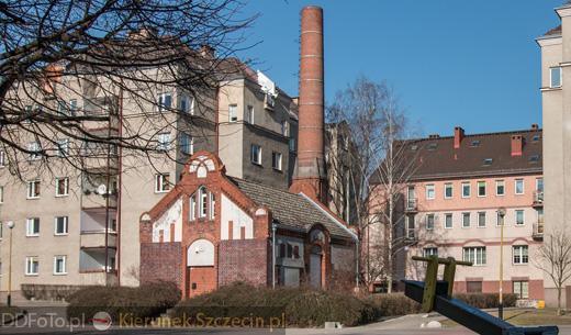 Szczecin. Pozostałość po kompleksie budynków Gazowni Niebuszewo w Szczecinie