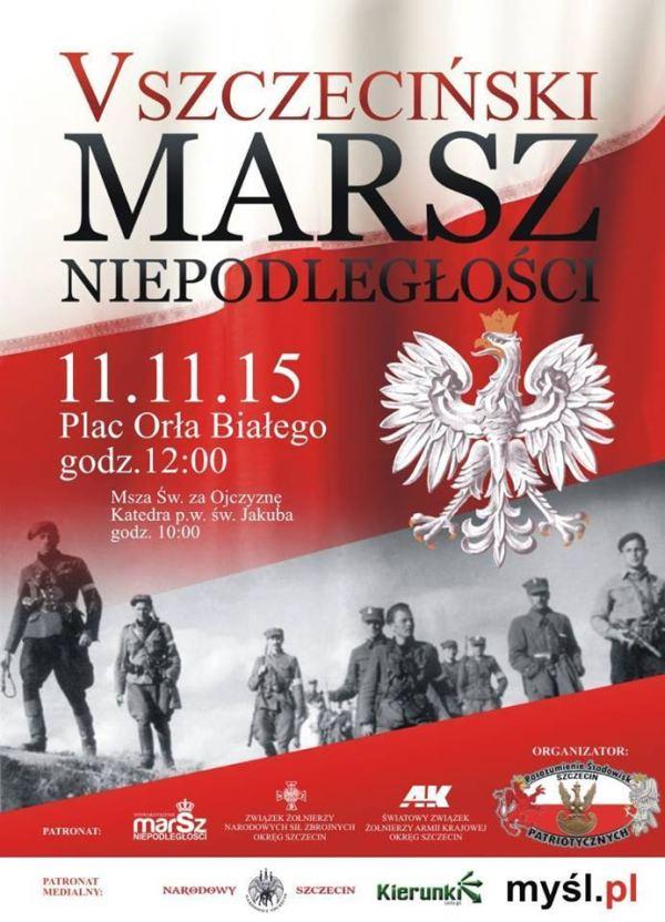 ARCHIWUM. Szczecin. Wydarzenia. 11.11.2015. V Szczeciński Marsz Niepodległości