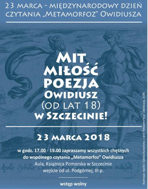 23.03.2018 międzynarodowe czytanie Metamorfoz Owidiusza w Szczecinie