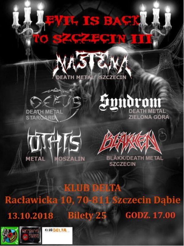 13.10.2018 Evil is Back to Szczecin, koncert w Szczecinie