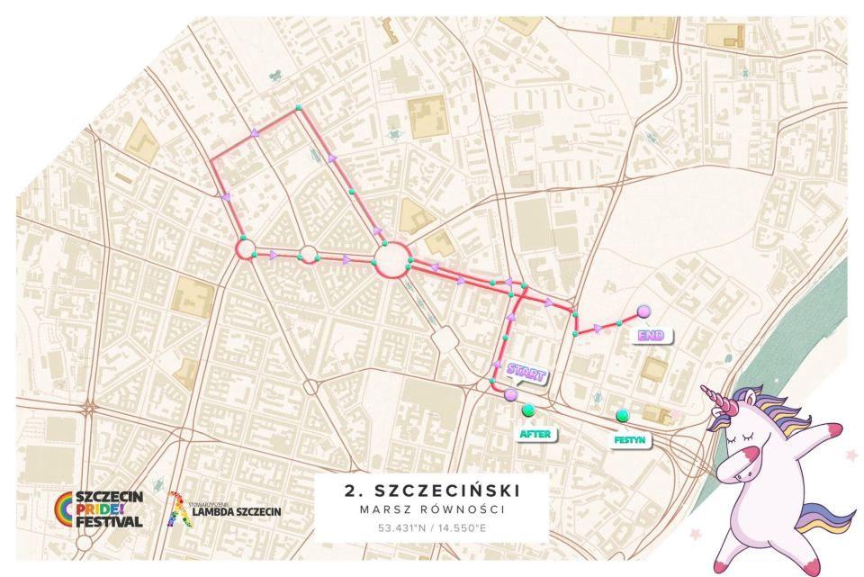 14.09.2019 II Szczeciński Marsz Równości, trasa marszu